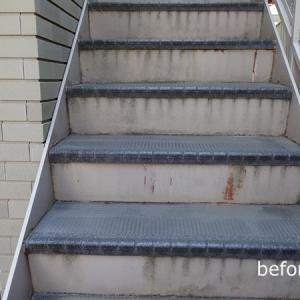 鉄階段の塗り替えとタキステップ5W施工