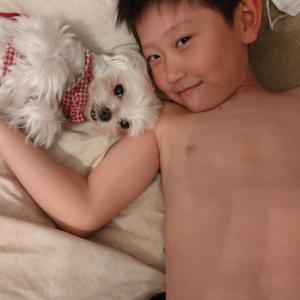 息子と愛犬の自粛モード