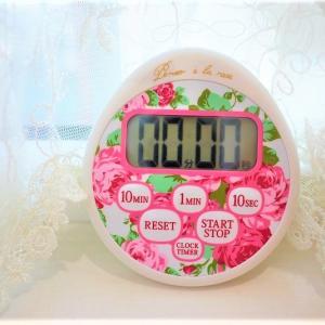 キッチンに可愛いローズがあふれる 時計付防水タイマー2wayで便利☆