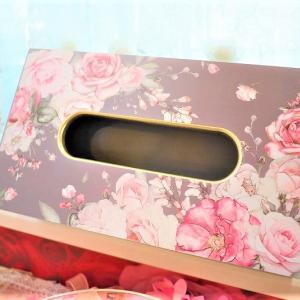 箱ごとすっぽりタイプ☆上品なグレージュにピンクのローズと金のラメが可愛いティッシュボックス☆