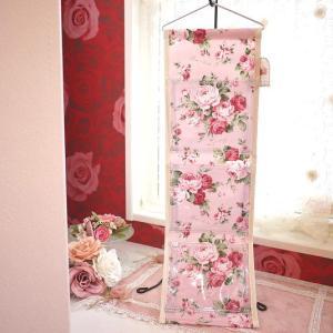 3つのポケットで収納♪郵便物も仕分け♪可愛いピンクのバラのウォールラック☆