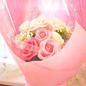 贈り物に♪ピンクローズの可愛さがあふれるブーケ(シャボンフラワー)☆