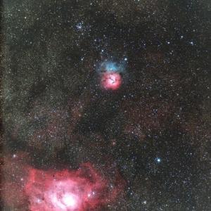干潟星雲(M8)と三裂星雲(M20)