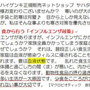 【現在流行中】インフルエンザ対策を食から行う!!~ブログNo468