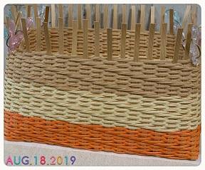 斜め模様のかご編み編み中