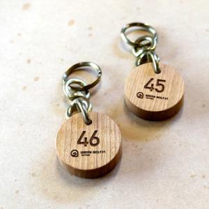 オーダー木製小物 丸い形のロッカールームキーホルダー