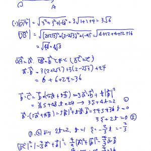 センター試験 2020 数学2Bのベクトルの解答です。