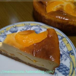 桃缶でチーズケーキ