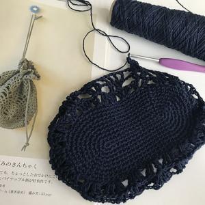 「オーガニックコットンで編む毎日の小ものとウェア」から「パイナップル模様のきんちゃく」完成!