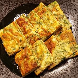 今日の晩ごはん。【大葉とチーズのチジミ】