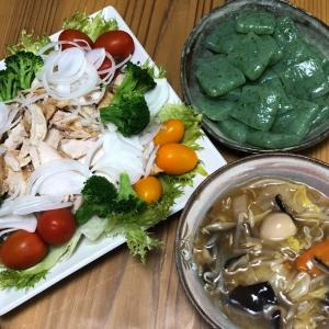 昨日は八宝菜、チキンサラダがメインでした(目標まで3.7kg)