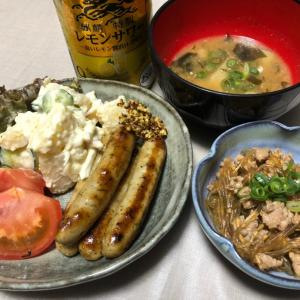昨日はソーセージ・ポテサラ・豚ひき肉と春雨炒め煮でした。