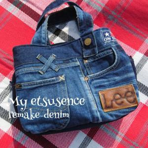 LEE リメイクデニムのあおりバッグ