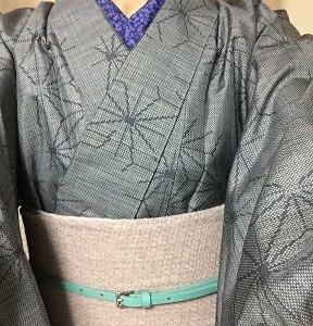 ブルーグレー麻の葉柄紬の着物で懲りずに再チャレンジ♪