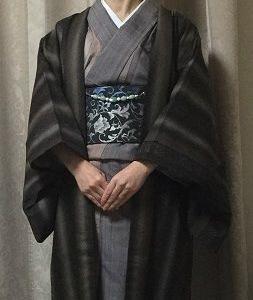 縦暈しざっくり紬の着物に恋帯と焼肉色羽織♪