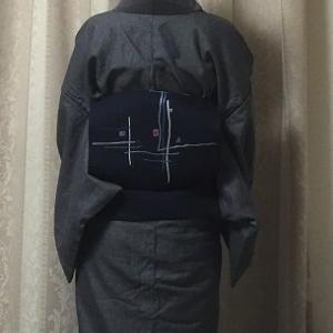 幾何学柄名古屋帯、お気に入りの半衿、ヘリンボーン柄着物
