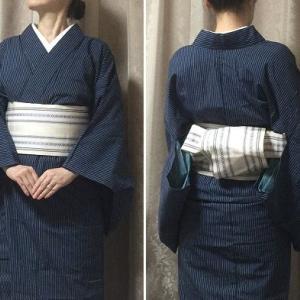 深い青の縞伊勢木綿着物と博多単帯