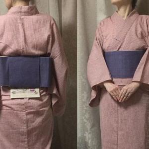 渋ピンク浴衣に薄紫麻帯