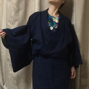 カシュクールシャツっぽく着た紺しじら浴衣