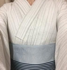 白縞しじら浴衣にブルーグレーに紺ストライプの帯