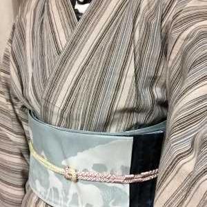 会津木綿に帯巻いて春色帯締め