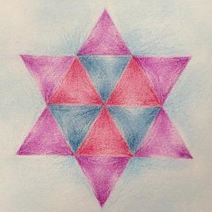アドヴェントの星7日目 色鉛筆で描く幾何学模様の星