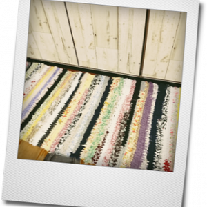 裂き布のキッチンマット