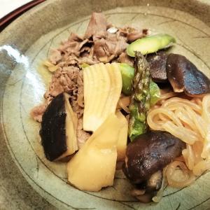 自作の器に竹の子の煮物
