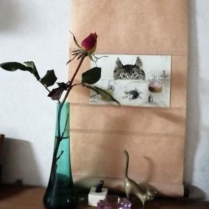 冬の薔薇とミカンのワンコ