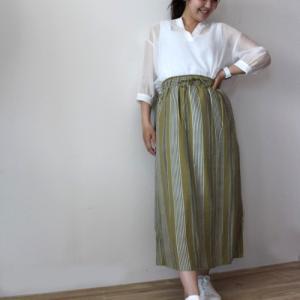 ストライプスカート・カーキ☆shop新商品のお知らせ♪