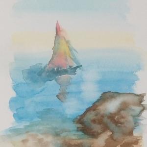 大きなパイロンを積んだ船を描く練習