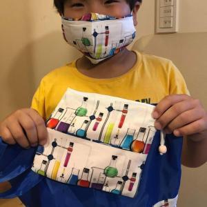 理科実験のマスク、きんちゃく、レッスンバッグ