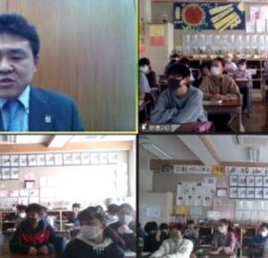 市長の学校訪問は「緊急事態宣言」によりリモートに