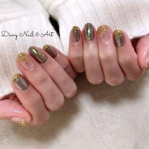 お客様nail*オーロラグレーの素敵な輝き。