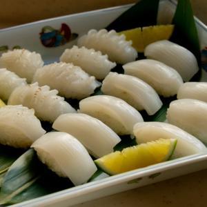 お二人が別々の種類のお寿司レッスン 烏賊と蛸