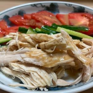 簡単レシピ「バンバンジーサラダ」と「手作り胡麻ドレッシング」