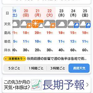 ついに最低気温が一桁になる予報が