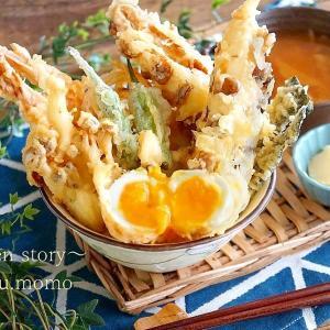 まるで夢のよう~油の吸収が50%の天ぷら粉!半熟卵の天丼セットを作りました♪