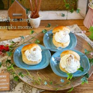 市販のパンで簡単!ダブルシュークリーム風スイーツパン♪(レンジで作れるアップルプレザーブ入り)