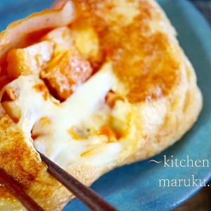 味付け不要!チーズがとろ~り油揚げ&厚揚げコンビのナポリタン風カリッと焼き♪