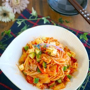 お酒のおつまみに♪キムチとキュウリの『中華風そうめんサラダ』