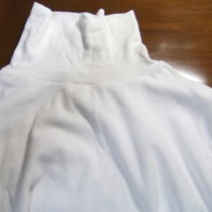 白タートル外す、捨てないで着る。