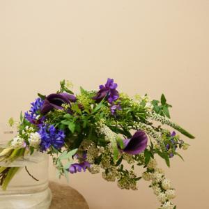 フラワーアレンジメントレッスン 美しい紫