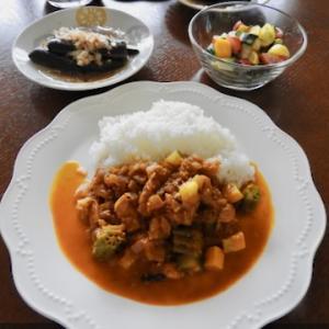 夏野菜と鶏肉のスパイスカレー ♡