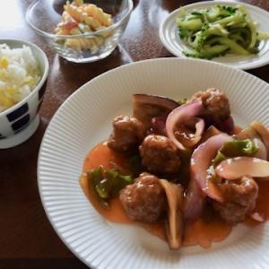 今日の晩ご飯は、肉団子の甘酢 ♡