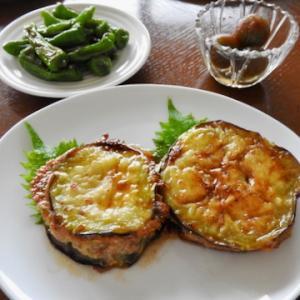今日の晩ご飯は、茄子のはさみ焼き 照り焼き味 ♡