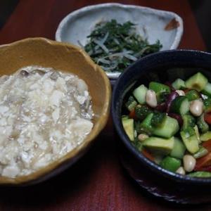 スプーンで食べます・ゴーヤと豆のコロコロサラダ