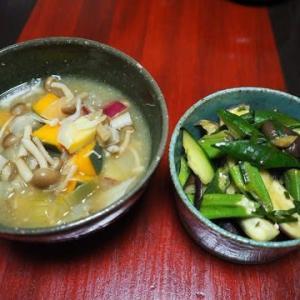 甘い野菜でやさしい味・きのことさつま芋とかぼちゃの味噌汁