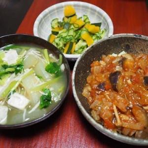 とうがんメニューは続く・小松菜ととうがんと豆腐の煮びたし