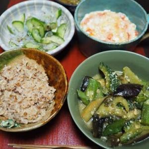 今日のなすは定番の味噌味・なすとオクラとゴーヤの味噌炒め